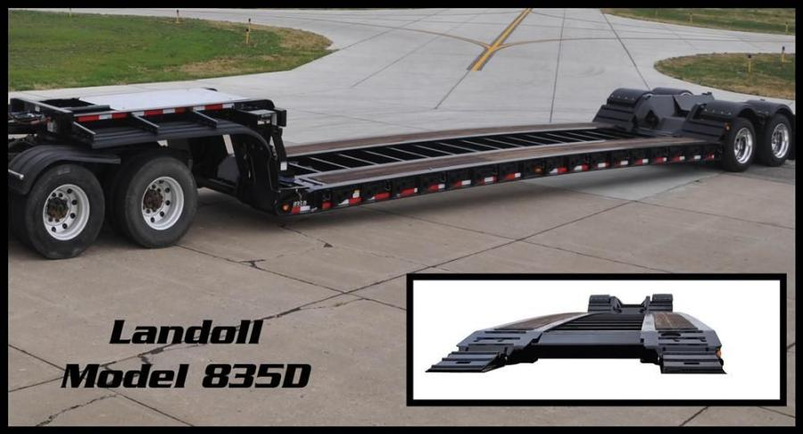 Landoll's model 835D Construction is a 35-ton (32 t) capacity hydraulic detachable non-ground bearing trailer.