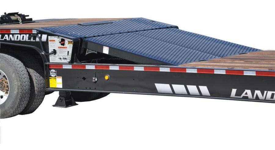 The air-operated ramp allows equipment to easily transition from the lower to upper decks on Landoll's 900 series traveling tail trailer.