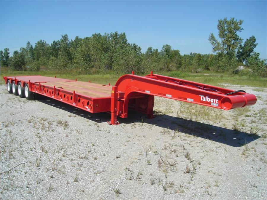 The 60-ton (54 t), 4-axle trailer was designed specifically for oil field work with features like tail rollers and pop-up rollers for loading skid-mounted oil field equipment.