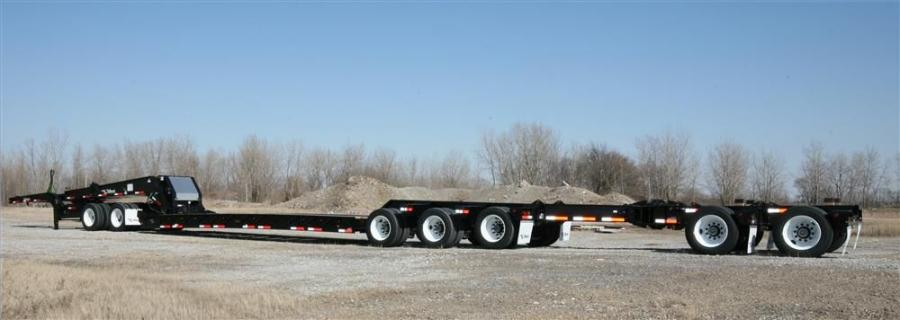The 65-ton HRG trailer is designed with the ability to add a tag- or pin-on axle to the jeep to allow a 3+3+2 axle configuration.