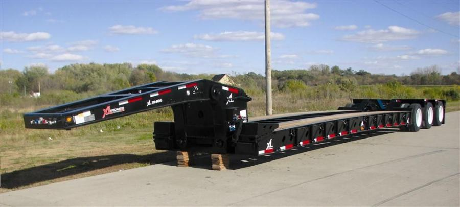 The XL 55-ton (50 t) HDG now features five position variable ride height on the 13 ft. (4 m) long low-profile gooseneck, front ramp upper flange reinforcement for extra support where it is needed most, third axle air lift and a more versatile main deck.