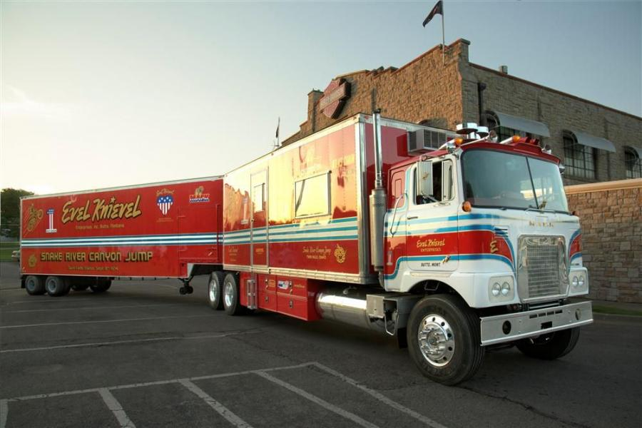 A Mack Pinnacle 70-inch high-rise sleeper model delivered Evel Knievel's 1974 Mack FS786LST model show truck to the Great American Trucking Show (GATS) in Dallas, Texas.