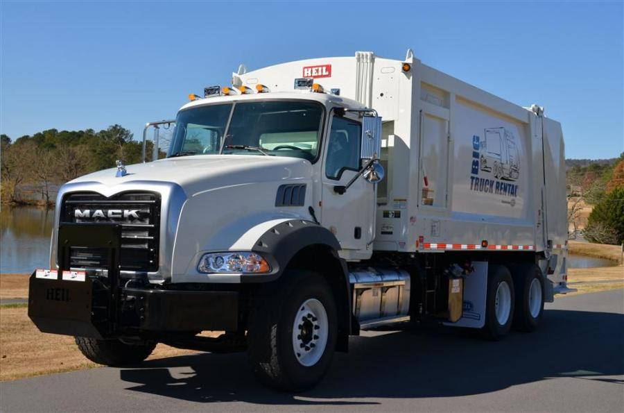 The Mack Granite medium heavy duty (MHD) rear loader is a lightweight solution for refuse customers.