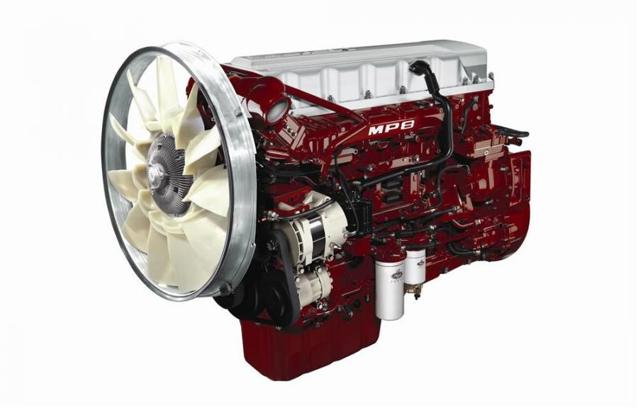 The Mack MP8 Econodyne+ offers 505 hp (376 kW) and 1,860 lb.-ft. of torque when operating at top gear. The MP8 Econodyne+ engine is available on Mack Pinnacle model highway tractors.