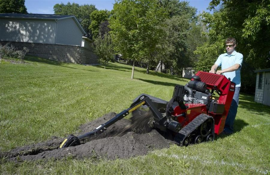 Boasting a 26-hp (19.4 kW) Kawasaki engine, the TRX-26 is ideal for utility workers, irrigation contractors and plumbers looking for the power of a ride-on trencher, with the maneuverability and control of a walk-behind.
