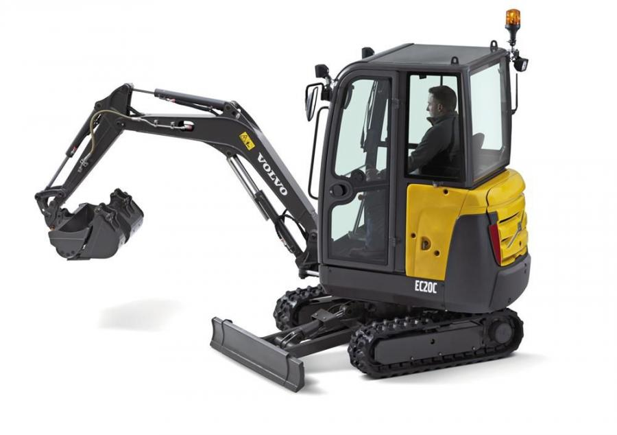 Now available in North America, the EC20C is powered by a Tier IV compliant 16.2 hp (12 kW) diesel engine and sports a new cab and digging equipment design.