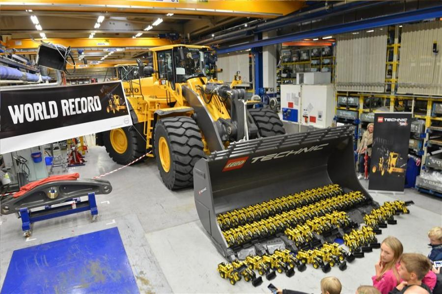 Sixty-one LEGO models were gathered to set the World Record for the highest number of assembled LEGO Technic Volvo L350F wheel loaders in one room.