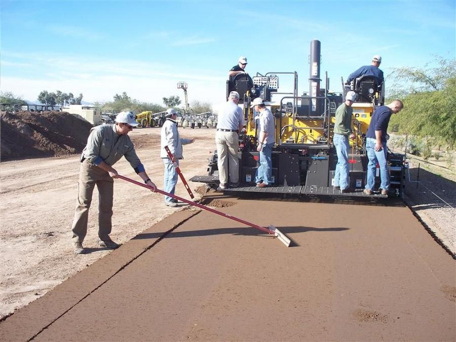 Students at Volvo Construction Equipment's Road Institute are taught paving best practice with hands-on training using a Volvo PF6110 tracked paver.