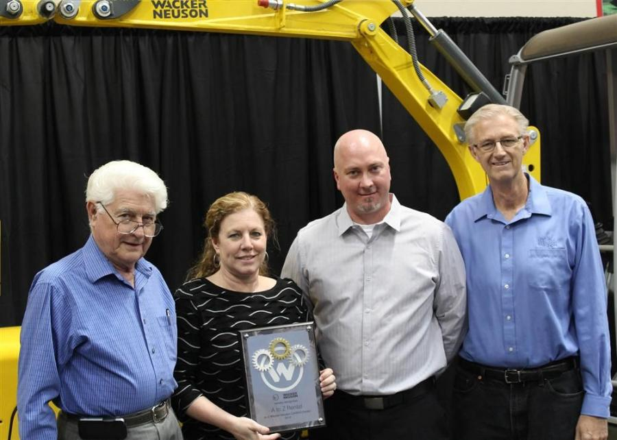A to Z Equipment Certified Dealer Award winners (L to R) are Fred Matricardi, president; Vicki Dickerson, vice president and treasurer; Jason Oglesby, Wacker Neuson technical services manager; and Doug Dickerson, sales manager.