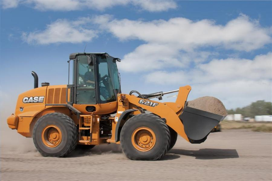 The Case 621F wheel loader model provides up to a 10-percent increase in fuel economy over the previous model, while delivering faster acceleration, quicker cycle times and higher travel speeds.