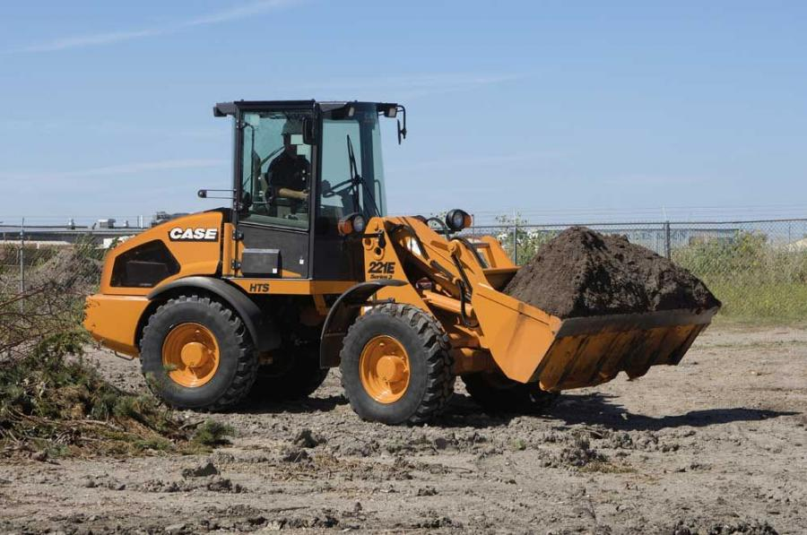 The Case E Series compact wheel loaders deliver between 54 and 82 net hp (40.3 and 61.1 kW).