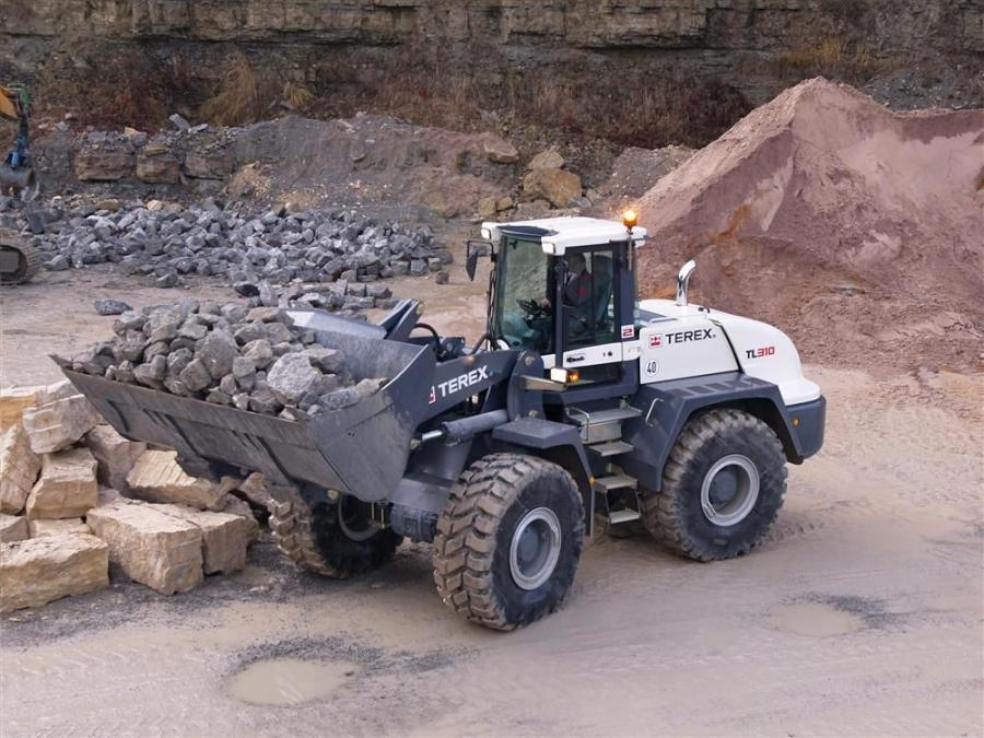 The Terex TL310 wheel loader handles bucket capacities of 4 to 6 cu. yds. (3.0 to 4.5 cu m) and has a bucket breakout force of 34,534 lb. (153,600 N).
