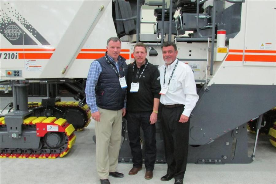 (L-R): Brad Kelly, sales representative of Elliott & Frantz, King of Prussia, Pa.; Steve Krol of A.F. Damon Inc., Upland, Pa.; and David Salzmann, district sales manager of Wirtgen America meet up at World of Asphalt. A.F. Damon recently purchased a W200i