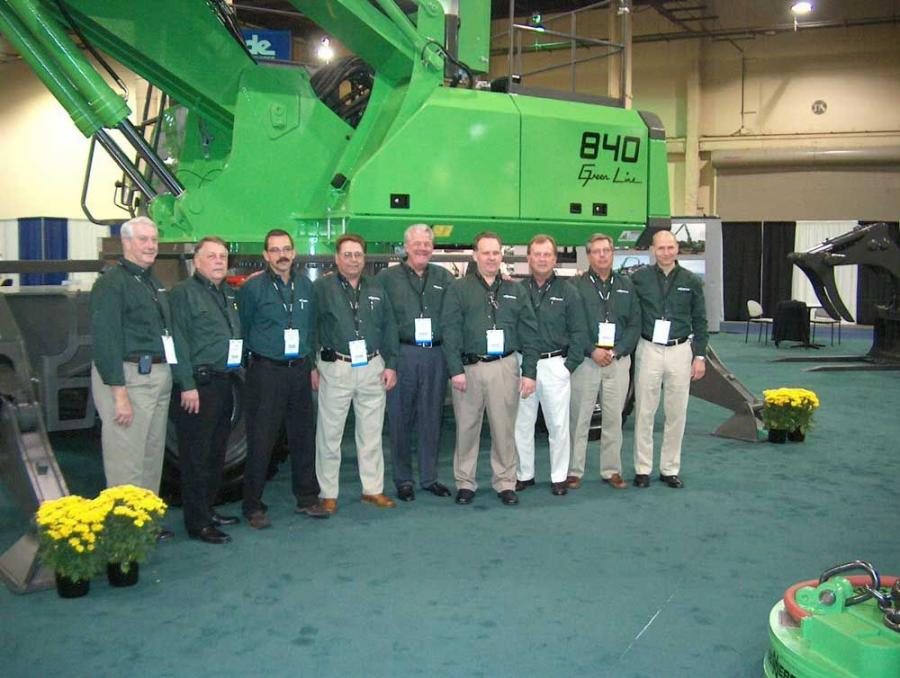 (L-R) are Robert Byrne of Howell Tractor, Tom Ellis, general manager of Howell Tractor & Equipment, Constantino Lannes, president of Sennebogen LLC, Phil Linoski of Howell Tractor, Lee Gibson, president of Gibson Machinery, Jimmy Iudiciani of Gibson Machi