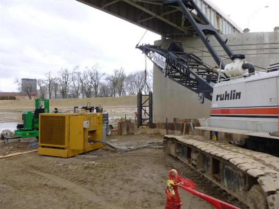 The levy is part of Dayton's flood control system. Ruhlin crews used some of the broken concrete from the old bridge's demolition to line some of levies to help with erosion control and cover areas where grass does not grow.