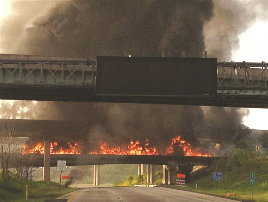 The intense heat from the fire buckled the beams of the eastbound Route 22 bridge overhead, rendering it unstable and unsafe for traffic either on it or on I-81 below.
