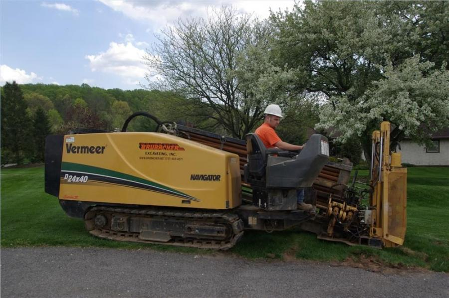 The directional drilling team demonstrates the capabilities of  Brubacher's  Vermeer D24X40.