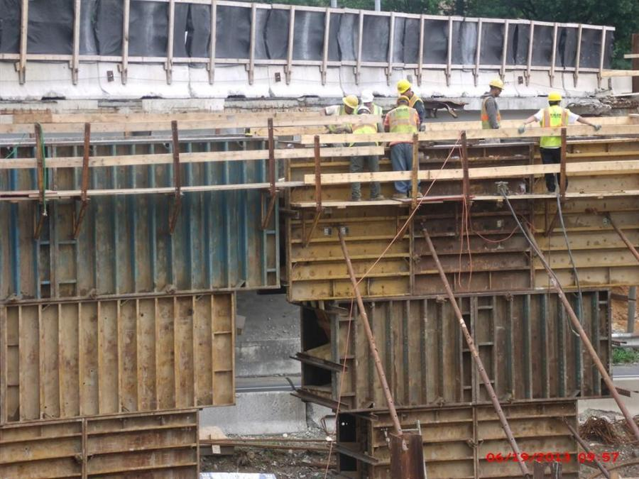 Photo Courtesy of Maryland State Highway Administration.  The contractor is working on placing forms and rebar for pier (central support) 'E' for the new bridge.