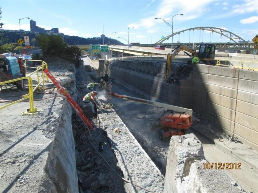 Demolition of the existing abutments on the Fancourt Bridge.