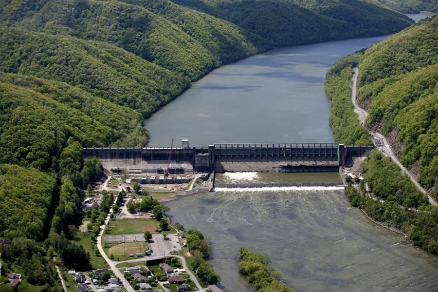 U.S. Army Corps of Engineers photo Covering 4,565 sq. mi. (11,823 sq m), Bluestone Dam has the largest drainage area of any dam in West Virginia. Behind the dam is Bluestone Lake.