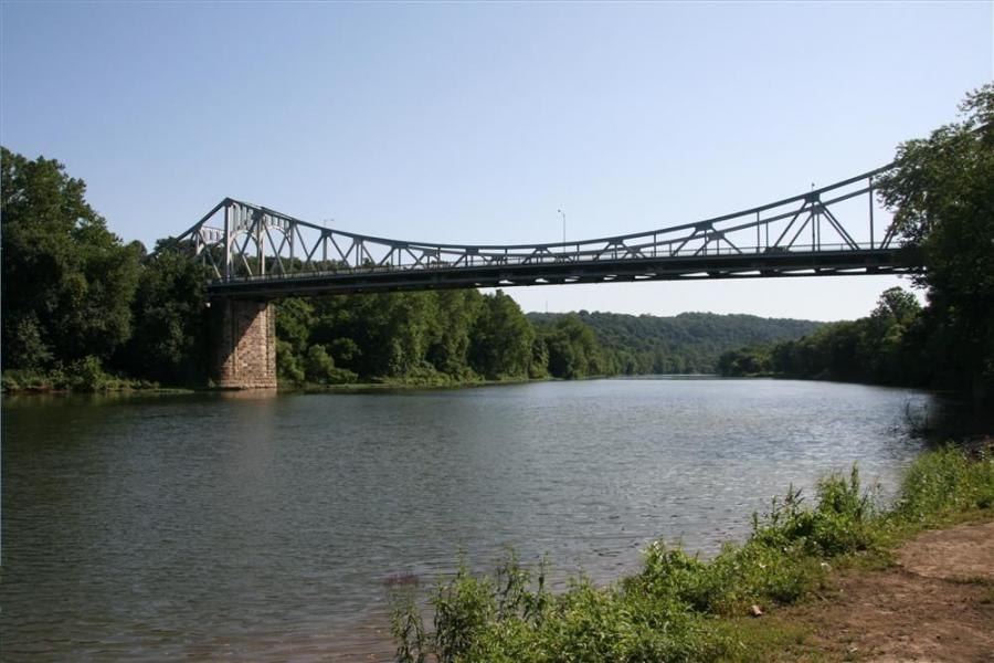 The Boston Bridge spans 1,182 ft. (360 m) over the Youghiogheny River.