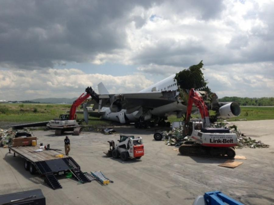 A Boeing 747-200 was parked at Newburgh Stewart International Airport, about 60 miles north of New York City, and Aircraft Demolition and Recycling was called to completely dismantle it.