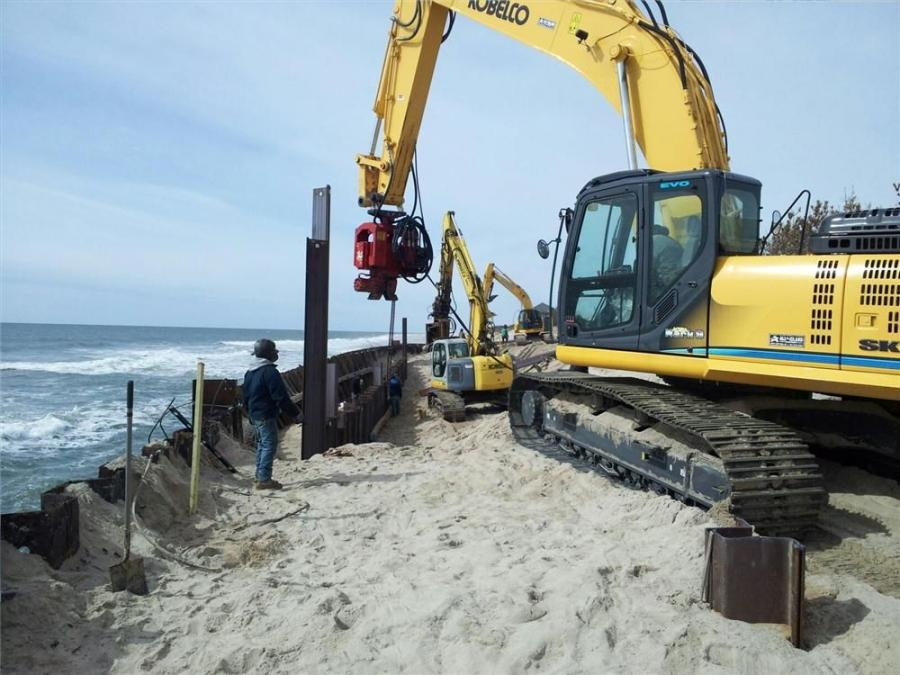 Mezynieski's new Kobelco SK350 is being used to drive steel  sheeting along the south shore  of Long Island, recreating the bulkhead.