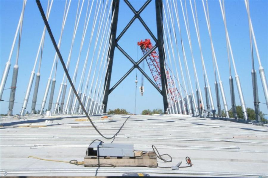 NYDOT officials have indicated the hairline cracks on the pillars of the new span are normal for newly poured concrete.