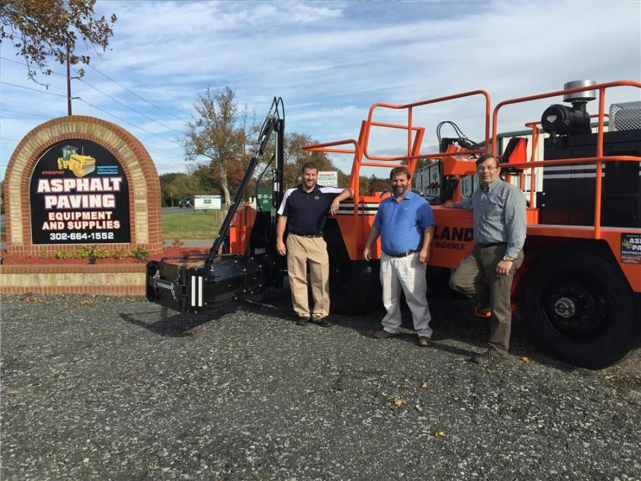 (L-R): Jesse Burkett, southern Maryland territory manager; Jason Madden, Kent and Sussex County territory manager; and Dan Collins, Harbeson branch manager, all stand by the recently delivered Midland SPD-8 road widener.