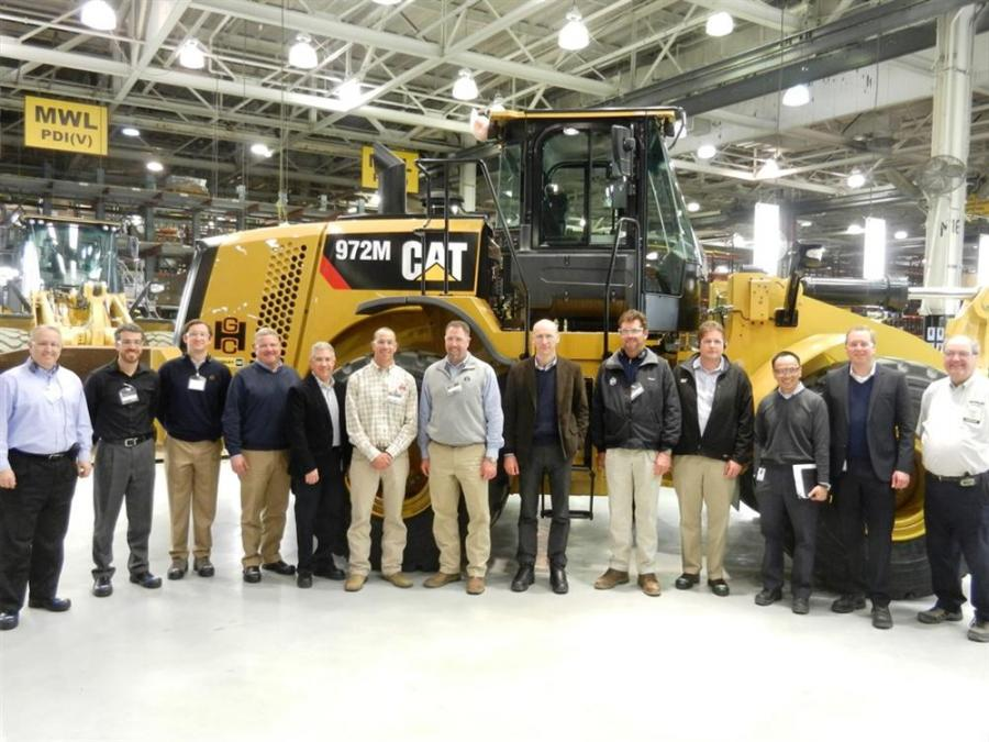 George Harms Construction Company Inc., Howell, N.J., visited the Caterpillar Aurora facility to receive the key to the first 972M medium wheel loader.