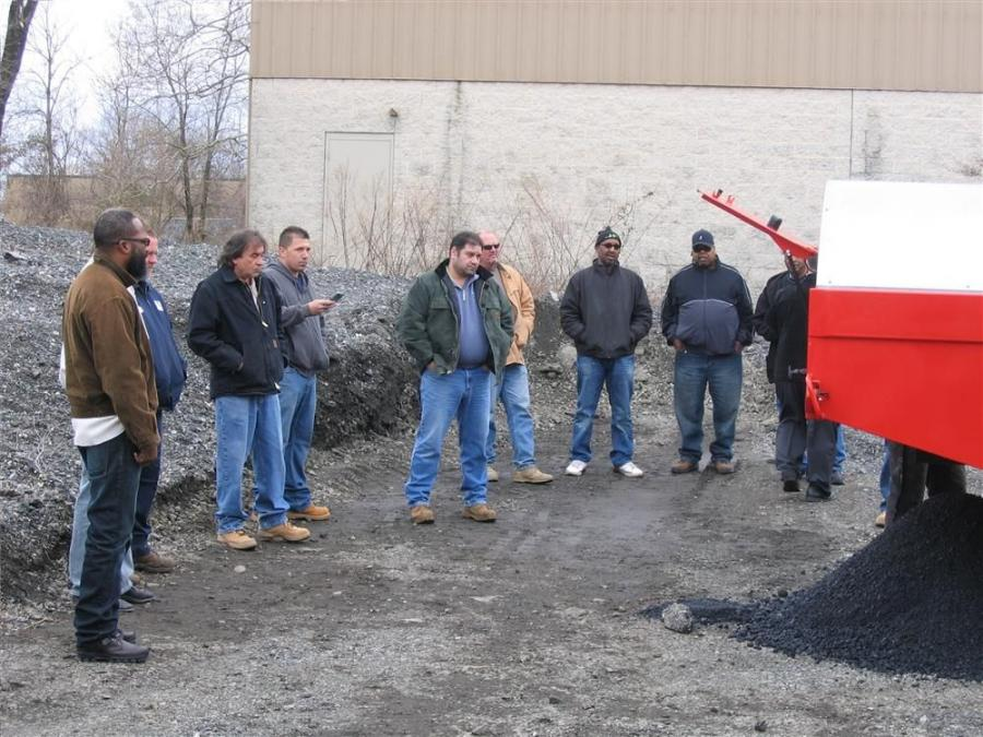 The Bagela asphalt recycler puts on a show for guests during CC&T's recent demonstration event.