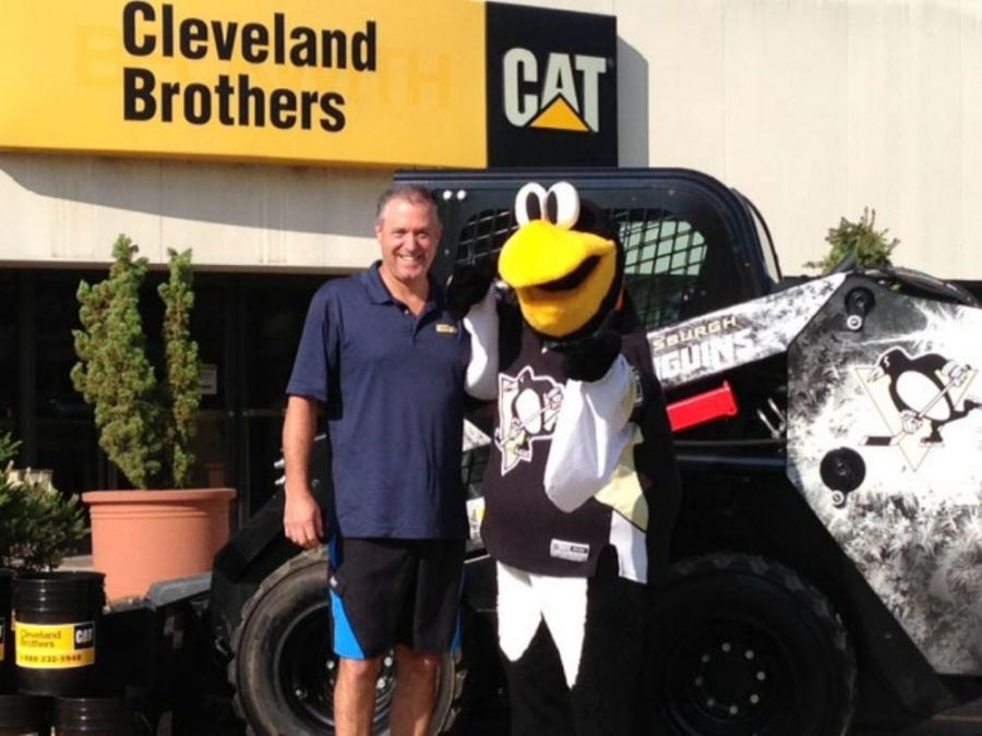 Jay Cleveland, pictured with Iceburgh, the Pittsburgh Penguins' mascot, challenged Cleveland Brothers employees to participate in the ice bucket challenge.