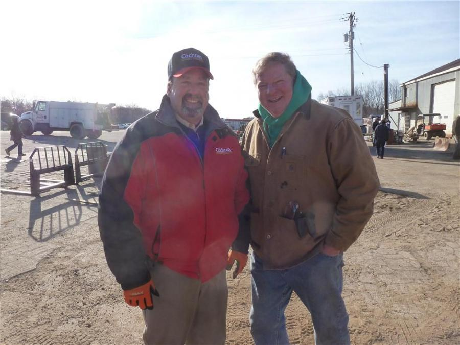 Chuck Lewis (L), J.G. Cochran Auctioneers, and Doug Duvall of Duvall Excavating, Baltimore, Md., take a moment for a photo at the J.G. Cochran sale.