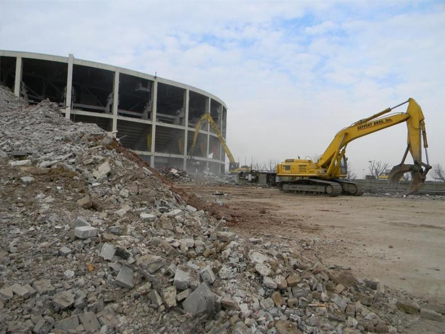 Once the ceremonial crane and wrecking ball were moved aside, Geppert Bros. began working on the Spectrum's exterior with a Komatsu 400.