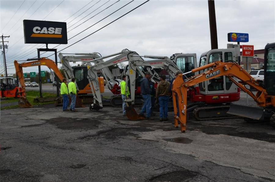 Municipal Day attendees check out the latest mini-excavators by Case and Takeuchi.