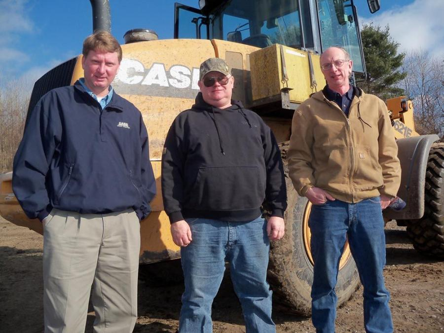 On the job site with a Case 621E wheel loader (L-R) are Mike Aument, sales representative of Groff Tractor, State College, Pa; Tom Houck, operator of The Pennsylvania State University — Operations Team; and Doug Schaufler, senior project associate o