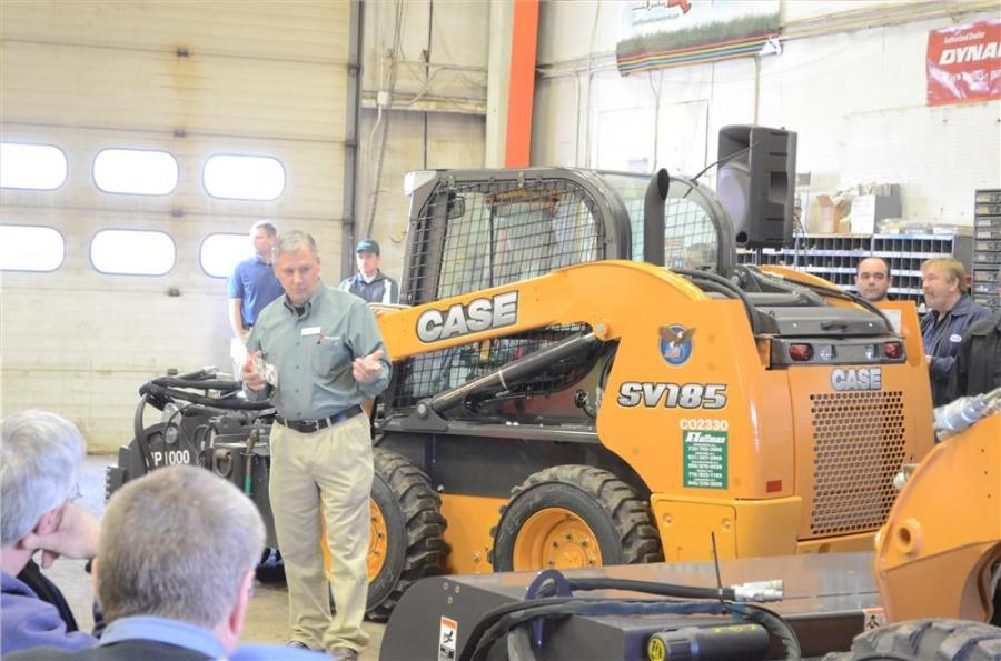 Ben Algyer shows off a few Paladin attachments on the Case skid steers.
