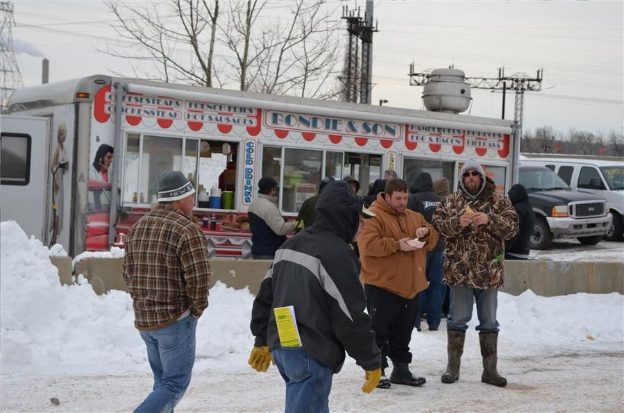 Bondie & Son always is a big hit at local auctions, but especially at the J.J. Kane auction on a frigid day — coffee and hot chocolate kept customers warm.