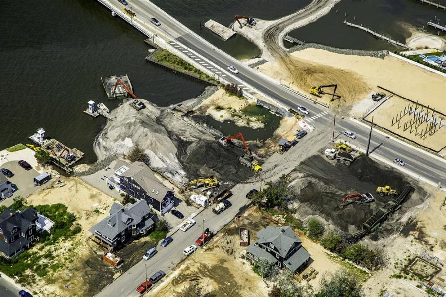 An aerial view of Brick Township, where Link-Belt excavators ranging in size from a spin ace minimum swing radius machine up to a Link-Belt 350 X3, are working to clean up the bay from the effects of Superstorm Sandy.