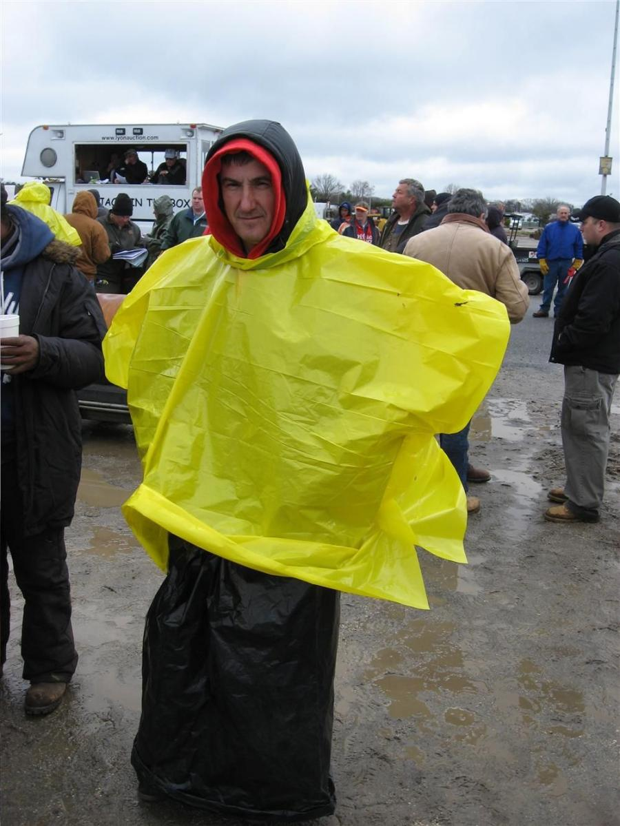 The latest in rainwear as modeled by Billy Propct from Brooklyn, N.Y.