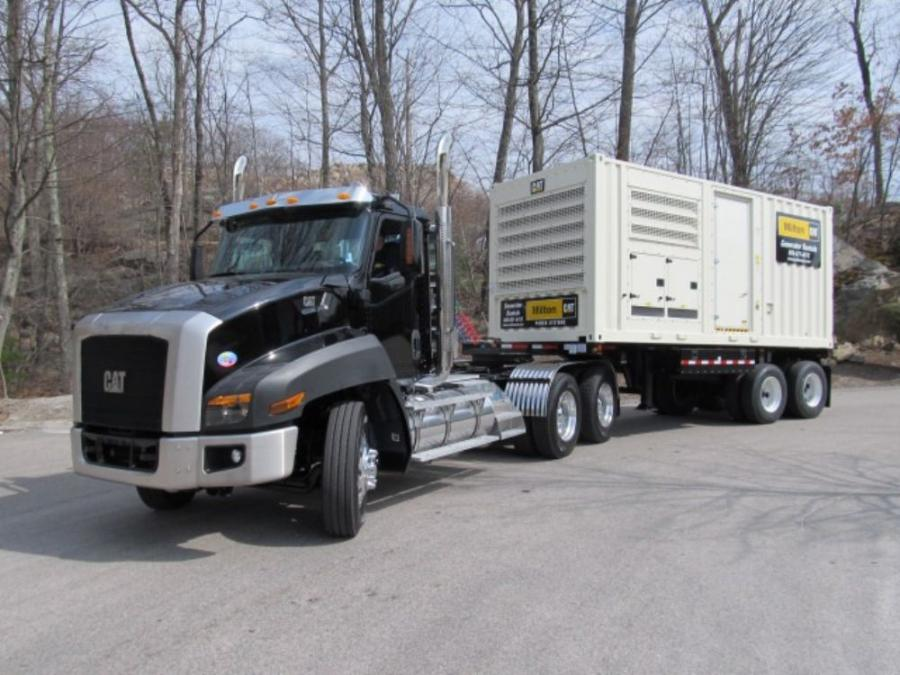 A Cat XQ500 generator, one of the new Tier IV line, leaves the Milton CAT yard.