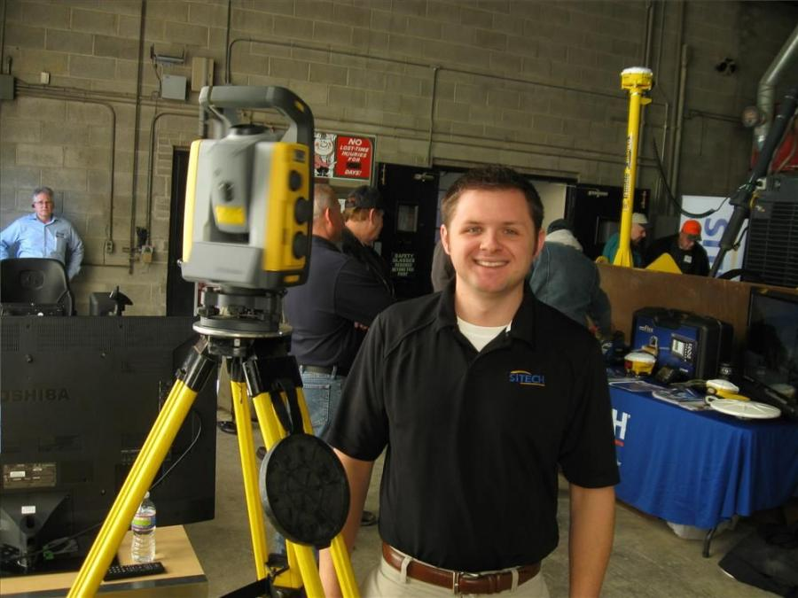 Sitech's Abel Moore demonstrates Trimble Mag Drive Technology at the SPS 930 Robotic Total Station.