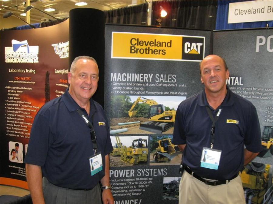 Rick Sutter (L) and Bill Bair of Cleveland Brothers welcome attendees to their booth.