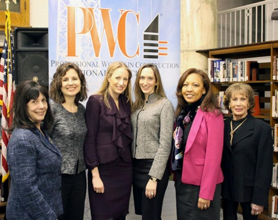 Lloyd Mulvey photo (L-R) are Lois Weiss, New York Post; Laura Gray, NYCEDC; Melissa Pianko, Gotham Organization; Laura Rapaport, L & L Holding Co.; Faith Taylor, Wyndham Worldwide and Lenore Janis, PWC.
