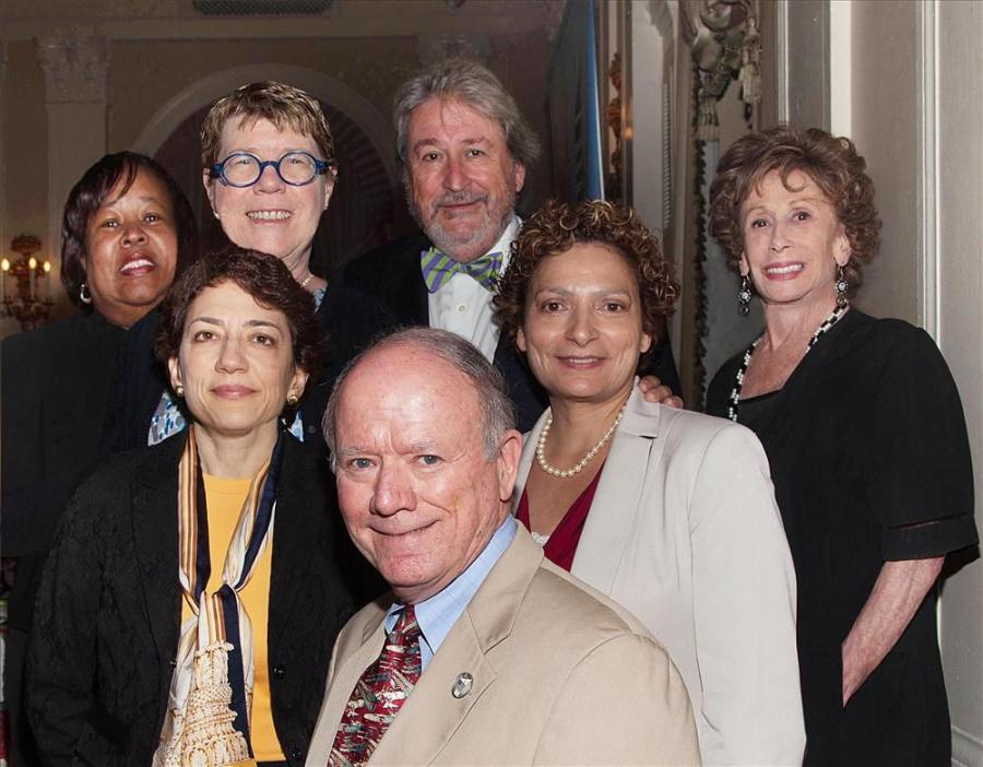 Pearl Perkins photo Speakers at Professional Women in Construction (PWC) Transportation Forum are Bill Fife (front), Weidlinger Associates and The Fife Group; (L-R, middle row): Polly Trottenberg, NYC DOT; Ronnie Hakim, NJ Transit; (L-R, back row) Stepha