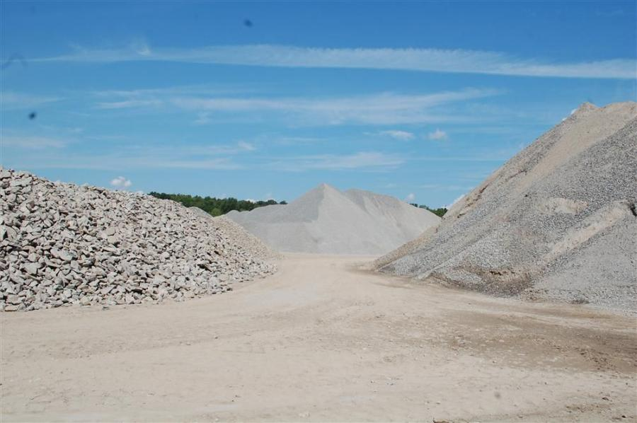 Stockpiles of various sized materials.