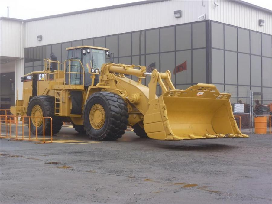 Sold! A Caterpillar 988H wheel loader, with a rated payload of 12.5 tons, awaits its turn on the auction block.