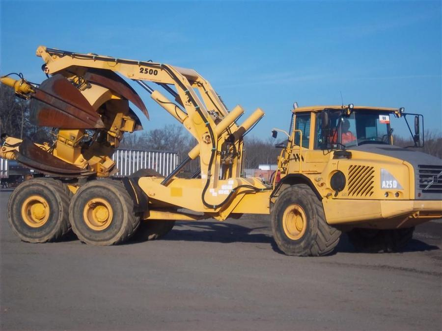 A Volvo A25D with optional tree spade awaits a new home.