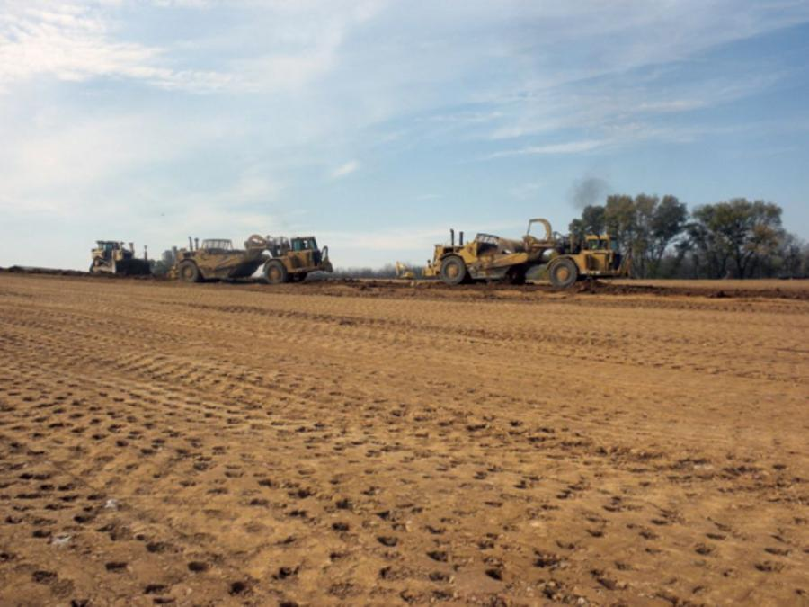 Heavy equipment grades the 51-acre Griffin site in Lower Nazareth Township, Pa., where Schlouch is installing pads for two warehouse facilities. Project completion is scheduled for summer 2012.