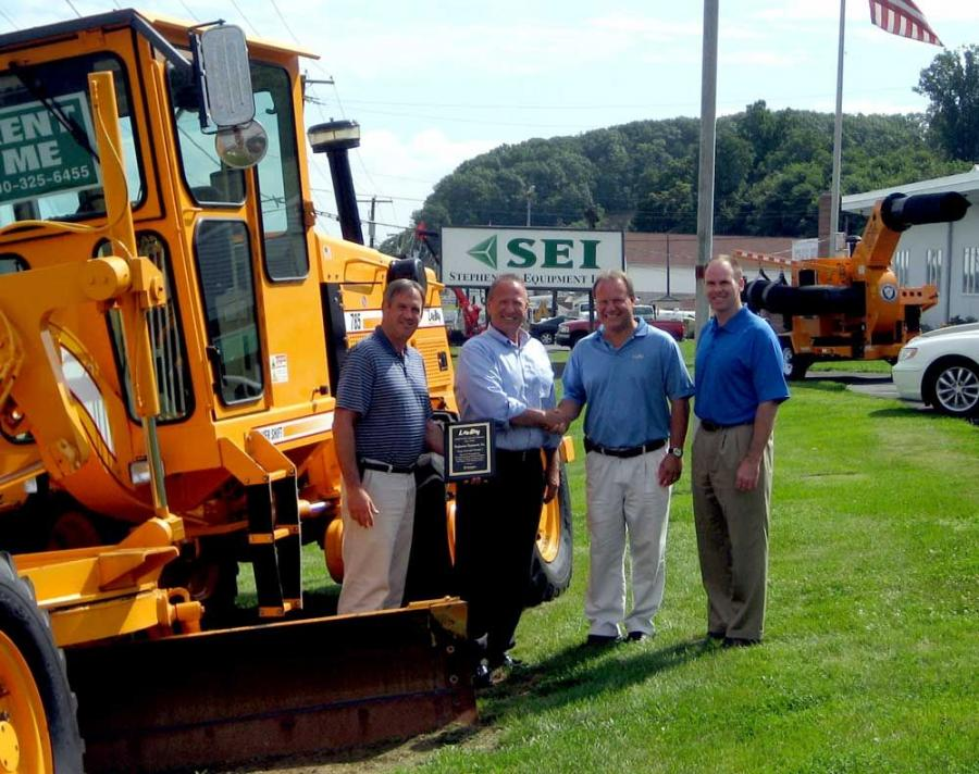 Recently Stephenson Equipment Inc. was presented with VT LeeBoy's 2008 Dealer of the Year Award. (L-R) are Jimmy Harkins, LeeBoy national sales manager; Dennis Heller, president and CEO, Stephenson Equipment Inc.; Bryce Davis, LeeBoy national sales